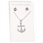 Pendant & Earring Set - Stainless Steel