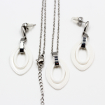 Ceramic Earring & Pendant Set with Stainless Steel Necklace