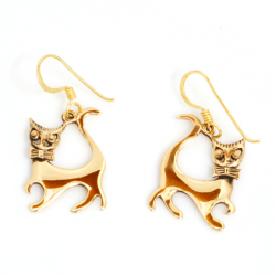Bronzeohrringe  Katze