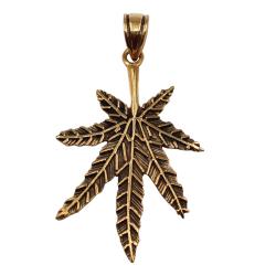 Bronzeanhänger Hanfblatt