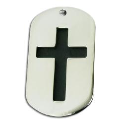Edelstahlanhänger - Dogtag mit Kreuz