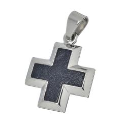 Edelstahlanhänger - Kreuz mit Inlay veredelt