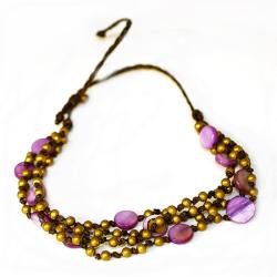 Bronzearmkette Perlmutt Pink