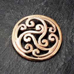 Bronze Brosche - kreisförmig mit floralem Muster