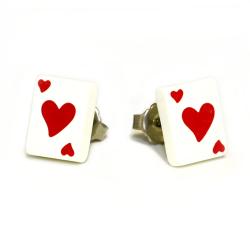 Edelstahlohrring - Spielkarte Herz