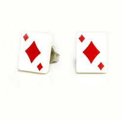 Edelstahlohrring - Spielkarte Karo