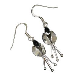 Ohrhänger 925er Sterling Silber- Onyx