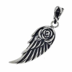 Edelstahlanhänger - Engelsflügel mit Rose...