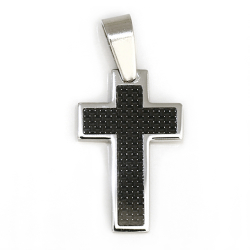 Edelstahlanhänger - Kreuz mit Carbon...