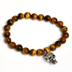 Armband aus Tigeraugen - mit Totenkopfanhänger aus...