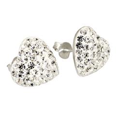 Ohrstecker 925er Sterling Silber- Herz mit Glitzer