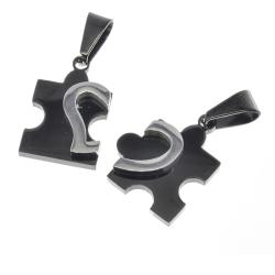 Edelstahlanhänger Puzzle - Herz