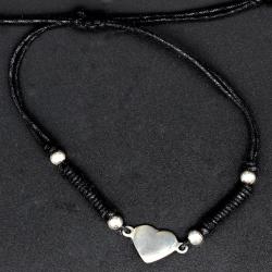 Baumwoll-Armband mit Silber -  Größenverstellbar