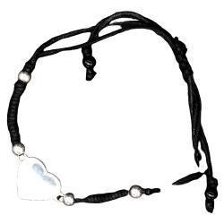 Baumwoll-Armband mit Gravurplatte 925 Silber -...