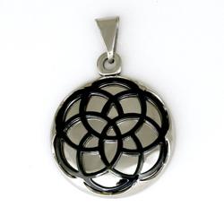 Edelstahlanhänger- Amulett mit Blumenmuster