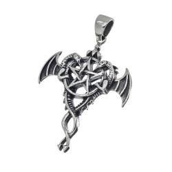 Edelstahlanhänger - Drachen mit Pentagramm