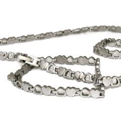 Edelstahl-SET-  Herz-Kette + Herz-Armband
