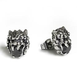 Edelstahlohrring Löwe mit Stein