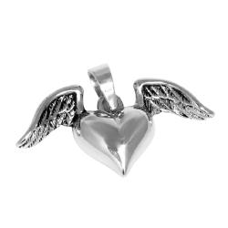 Edelstahlanhänger - geflügeltes Herz