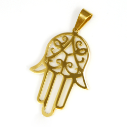 Edelstahlanhänger- Hand der Fatima - gold