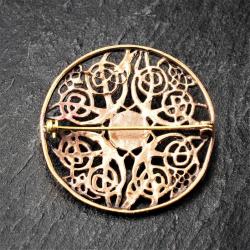Bronze Brosche - Ornamente mit Onyx schwarz