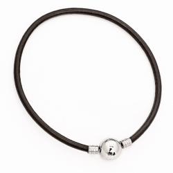 Leder-Stahl-Beads-Armband mit Klippverschluss
