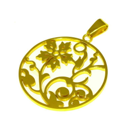 "Edelstahlanhänger- Blume ""goldfarbend"""