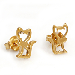 Edelstahlohrstecker Katze PVD-Gold