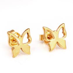 Edelstahlohrstecker Schmetterling PVD-Gold