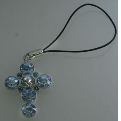 Schlüsselanhänger - Kreuz - Hellblaue Steine