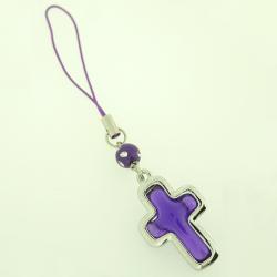Schlüsselanhänger - Lila Kreuz an Lila Schnur -...