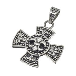 Edelstahlanhänger  Eisernes Kreuz mit Lilie