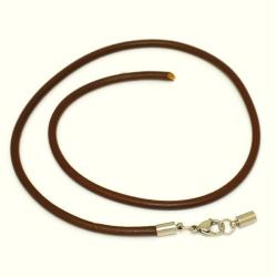 ca. 45 x 0,5 x 0,5 cm Braunes Lederhalsband mit...