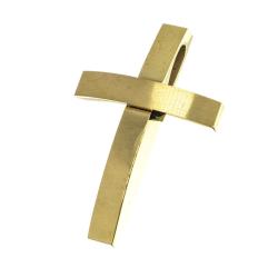 Edelstahlanhänger - Kreuz golden