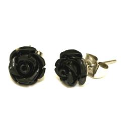 Edelstahlohrstecker schwarze Rose