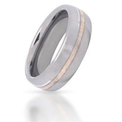 Wolfram-Ring mit Silberinlay 1 Streifen