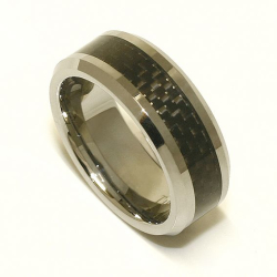 Wolfram-Ring 8mm mit Carbon-Inlay innen bombiert