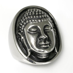 Edelstahlring Buddha-Kopf