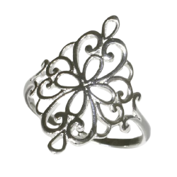 925 Sterling Silberring - Floral