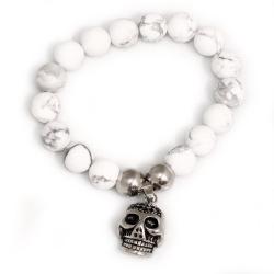 Armband mit Edelstahlanhänger Totenkopf Marmor hell...