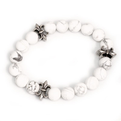 Armband mit Edelstahlmodulen Lilie Marmor