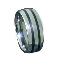 Wolfram-Ring mit Black-Inlay 2 Streifen