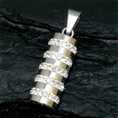 Edelstahlanhänger - Rolle mit 5 Steinreihen ca. 24 x 10 mm