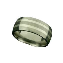 Titanring/Silberinlay (2 Streifen)