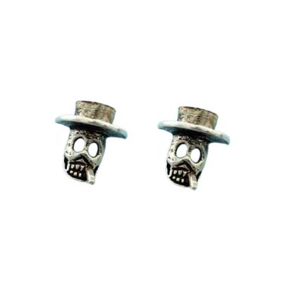 Silberohrstecker - Totenkopf mit Zylinder und Zigarette