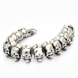 Edelstahl Armband / Kette aus Totenköpfen