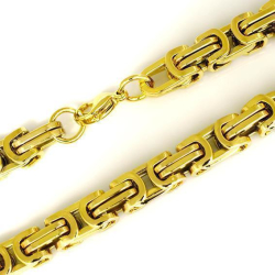 8 mm Königskette - Edelstahl - Gold bicolor