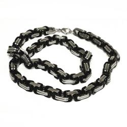8 mm Königskette - Edelstahl - black bicolor