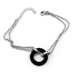 Edelstahlarmband - Keramikanhänger Kreis schwarzer Ring