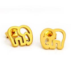 Edelstahlohrstecker Elefant Gold